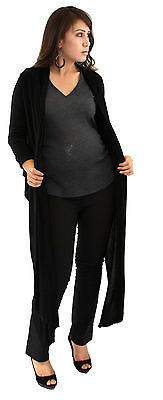 Three Piece Maternity Set Pant Slacks Maxi Pregnancy Set Black Shawl Long Sleeve