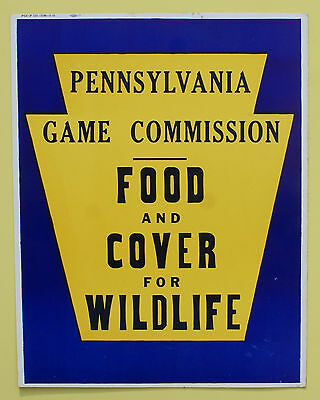 """Pa Pennsylvania Game Commission NEW 1951 11"""" x 14"""" Food And Cover Paper Sign"""