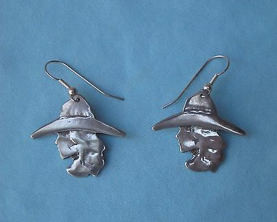 RARE ROGER MILLER (signed) STERLING SILVER COWBOY / COWGIRL EARRINGS