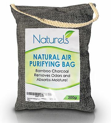 Natural Air Purifying Bag - Bamboo Charcoal Naturally Removes Odours and Mois...