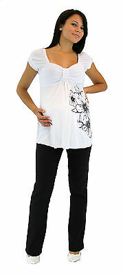 Maternity Flower Black Maternity Pregnancy Blouse Womens Outfit Two Piece