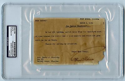 1931 Thomas Edison Signed Autograph Typed Letter PSA/DNA Certified