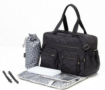 New OiOi Black Diamond Quilted Carry All with Gunmetal lining (6644) Free Expres