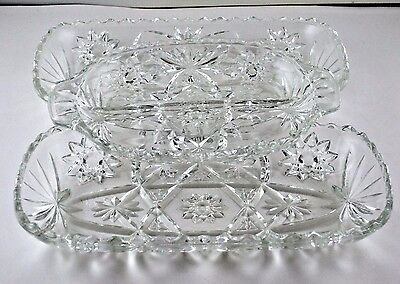 """Anchor Hocking EAPC Star of David Rectangle Relish Serving Trays (2) 12"""" 1 10"""""""