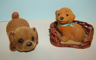 2 Flocked Fuzzy Puppy Dog Figurines 1970s Enesco in Dog Bed & Josef Playful Pose