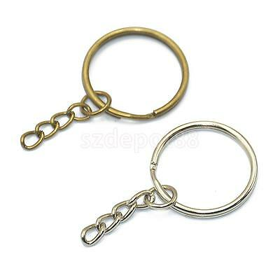 12x Keyring Blanks Key Chains Findings Split Rings 4 Link for Crafts Making