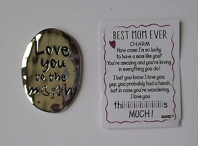 d Love you to the Moon and back BEST MOM EVER Pocket token charm Ganz