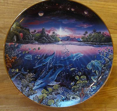 """Porcelain Danbury Underwater Paradise Plate """"Search for Harmony"""" Dolphins"""