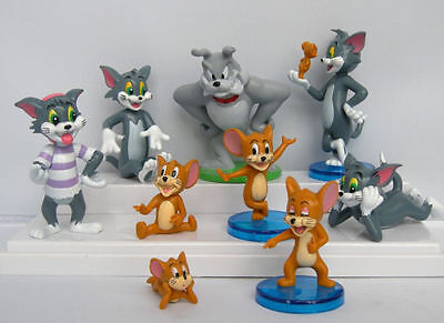 Tom And Jerry Figure Cartoon Cat & Mouse Toys Set of 9pcs Cute Anime Child new