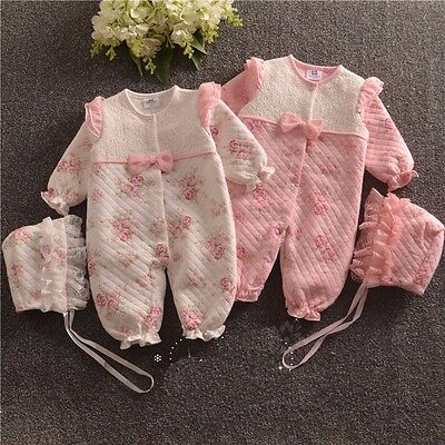 baby newborn girl clothes fall winter outfits warm padded bodysuit & hat floral