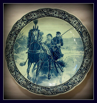 Delft Vintage Regout Royal Sphinx - Horse & Sleigh Scape Wall Plate / Charger