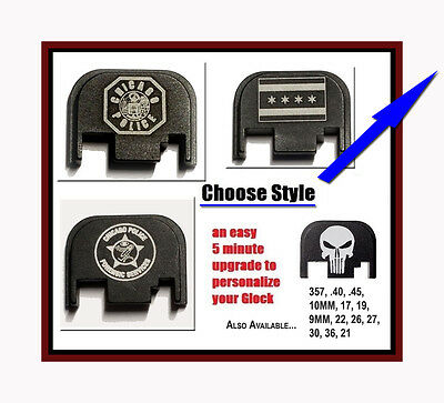 New Fixxxer Custom Slide Cover Plate Chicago PD Badge, Smile Punisher for Glock
