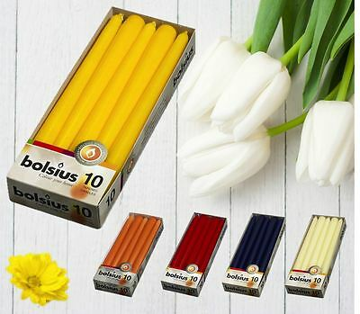 Long Non-Drip Tapered Table Wedding  Candles 10 & 4 Pcs Wide Range of  Colours