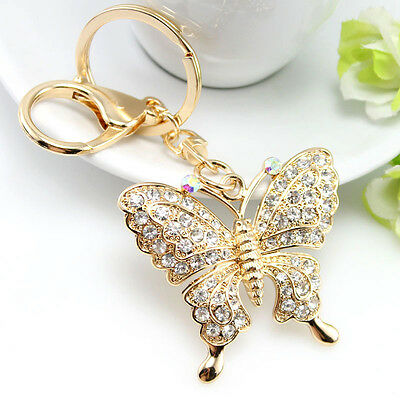 Luxury Gold/Diamonte Butterfly Keyring/Bag Charm - Great for Mothers Day