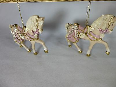 Pair Vintage Victorian White Stallion Horse Pink Accents Christmas Ornaments