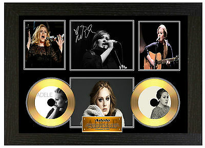 Adele - A3 Signed Framed Gold Vinyl Collectors Cd Display Picture