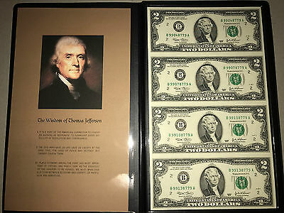 2003 USA UNCUT set of 4 $2 UNC Notes in  Folder  B 99048779 A