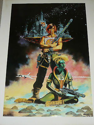 Original 80s Vintage Sci Fi Poster LARGE Pinup ~ Irvine Peacock Galaxy Warrior