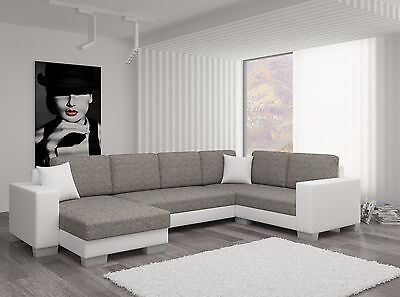 Unique+Branded Fabric Corner Sofa Bed Marco - Storage Box Left/right Hand Side