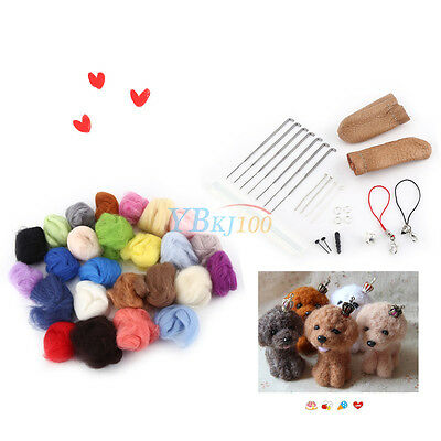 25 Colors Wool Felt + Felting Needle Tool Set Starter Kit Mat Tools High Quality