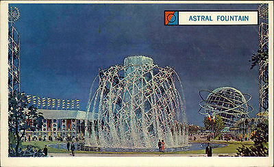 New York Amerika Color AK ~1961-63 World Fair Weltausstellung Astral Fountain