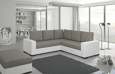 Unique+Branded Fabric Corner Sofa Bed Canis - Storage Box Left/right Hand Side