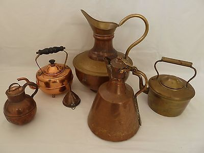 Job Lot of Vintage Copper and Brass Jugs, Ewer, Kettle etc Islamic, French.