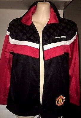 Manchester United FC Football Club Track Jacket Boys/Womens Red/Wht/Blk Size 12