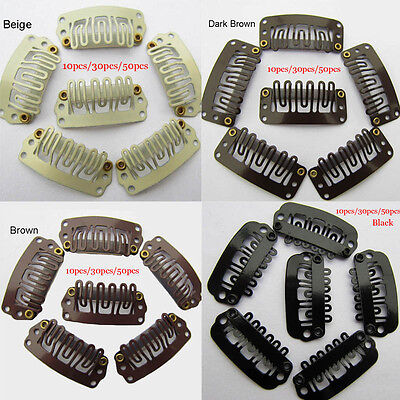 30/50 pcs Quality Snap Clips for Wig/Hair Extension Weft Metal U-Shape Pin