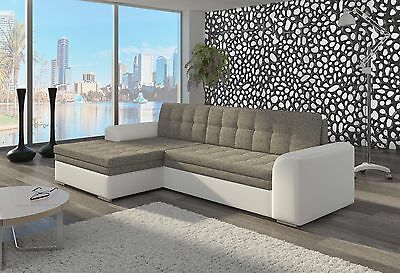 Unique+Branded Fabric Corner Sofa Bed Conforti - Left/right Hand Side