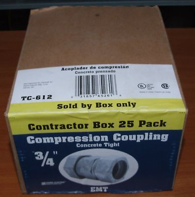 """Sigma Electric 3/4"""" EMT Compression Coupling BOX OF 25 - BRAND NEW"""