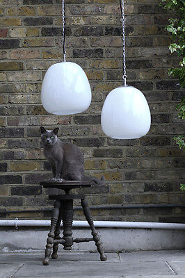 Genuine Vintage Antique Industrial Milk Glass Opaline Pendant Lamp Light Shade