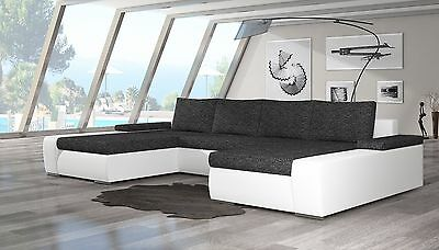 Unique+Branded Fabric Corner Sofa Bed Marino - Storage Box Left/right Hand Side