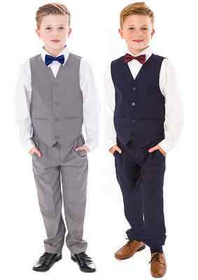 Boys Suits, Page Boy Bow Tie Suit Grey Navy Suit Wedding Party Baby Boys 4 Piece