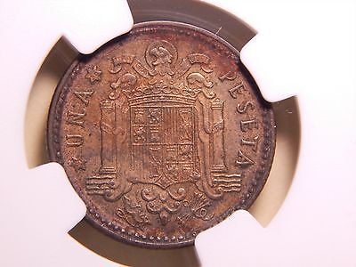 *SCARCE* Spain 1947 * (56) 1 PTA NGC AU Details, Full PLUS ULTRA  Franco Coin!