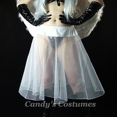 "25"" LONG White TULLE Petticoat SHEER Costume SKIRT Dancer BURLESQUE Below-Knee"