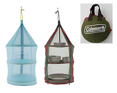Coleman Hanging Dry Net 2 Dish Food Drying Foldable Mesh Rack Outdoor Green Blue
