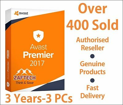 Avast Premier 2016,   3 Years License File for  3 Pcs