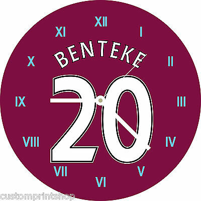 ASTON VILLA themed Round Glass WALL CLOCK personalised football shirt kit style
