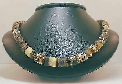 Necklace Natural Baltic Amber Stone 24,1g Blue Black White Vintage Rare A-290
