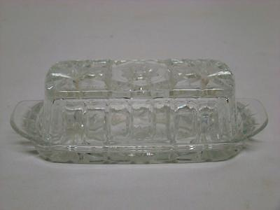 "Vintage Pressed Glass Fancy Butter Dish with Lid ""Star of David"""