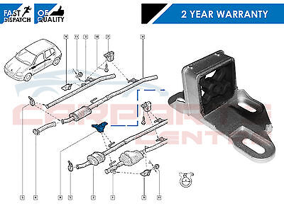 For Renault Clio Mk2 1998-2006 Rear Exhaust Rubber Mounting Bracket Backbox