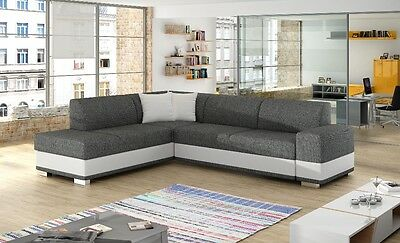 Unique+Branded Fabric Corner Sofa Bed Darco - Storage Box Left/right Hand Side