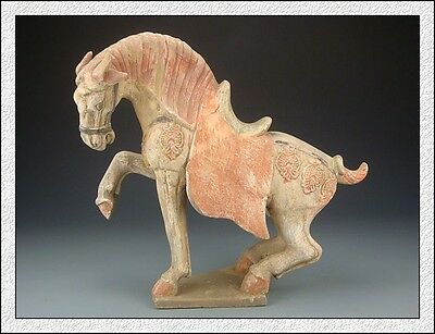 Ancient Chinese Rare Collectible Old Colored Pottery Leg-Raising Aga War Horse