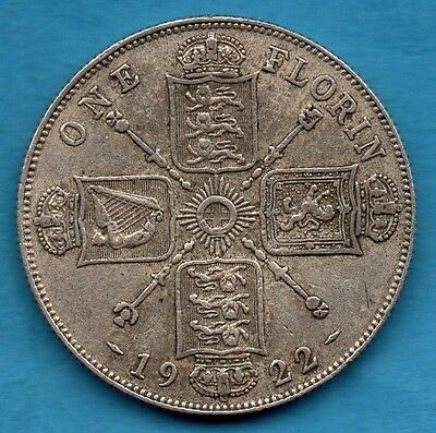1922 Florin Coin. King George V. Silver 2/-. Two Shillings. Nice Condition.