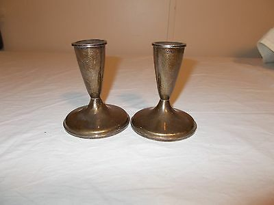 Estate Vintage Sterling Candlesticks Weighted Dented Scrap? 495 Grams