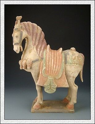 Ancient Chinese Rare Colored Pottery Han Dy Terracotta Aga War Horse Statue