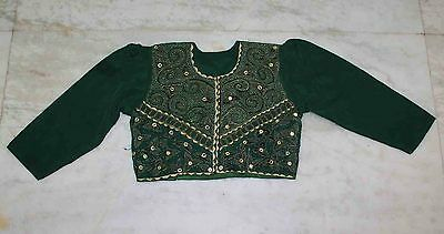 Classic Traditional Beaded Sequins Hand Embroidery Indian Wedding Blouse/top L""
