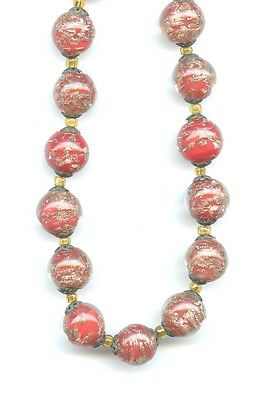 Vintage Venetian Red Gold Foil Glass Metal Cap Beads Bead Necklace