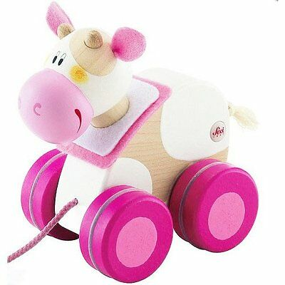 Boys Girls Kids Colorful Designed Wooden Children Mini Cow Pink Pull-a-long Toy